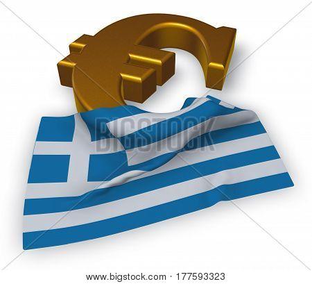 euro symbol and greek flag - 3d illustration