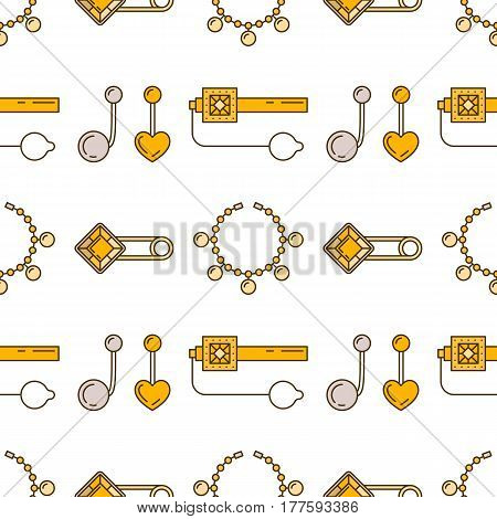Set of vector jewelry line seamless pattern. Diamond luxury colorful collection. Fashion gemstone silhouettes. Pearl gold silver gem crystal sapphire element. Treasure collection