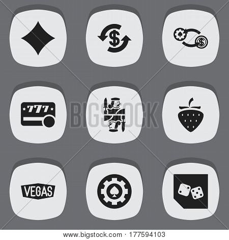 Set Of 9 Editable Game Icons. Includes Symbols Such As Dice, Nevada, Rhombus And More. Can Be Used For Web, Mobile, UI And Infographic Design.