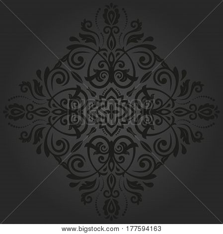 Elegant dark ornament in the style of barogue. Abstract traditional pattern with oriental elements