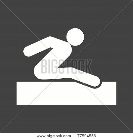 Jump, long, track icon vector image. Can also be used for olympics. Suitable for mobile apps, web apps and print media.