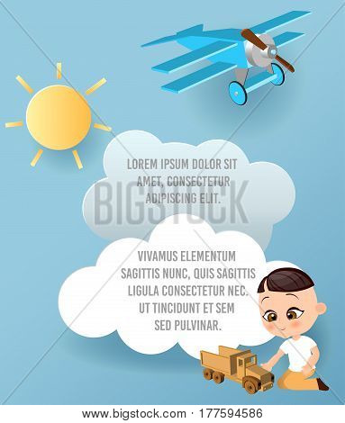 Japanese boy with toy car. Boy playing car. Vector Paper art of car cloud and plane in the sky. Template advertising brochure with space for text. Origami concept Banner. Banner with funny cartoon kids