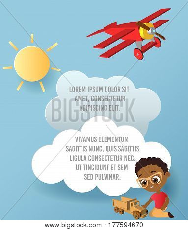 African American boy with toy car. Boy playing car. Vector Paper art of car cloud and plane in the sky. Template advertising brochure with space for text. Origami concept Banner. Banner with funny cartoon kids.