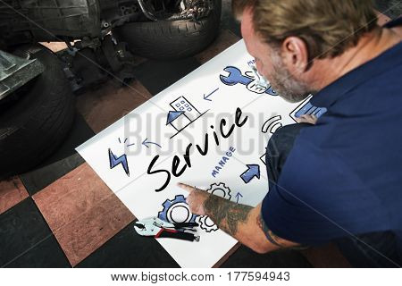 Car Parts Shop Owner Warehouse Checking Blueprint Concept
