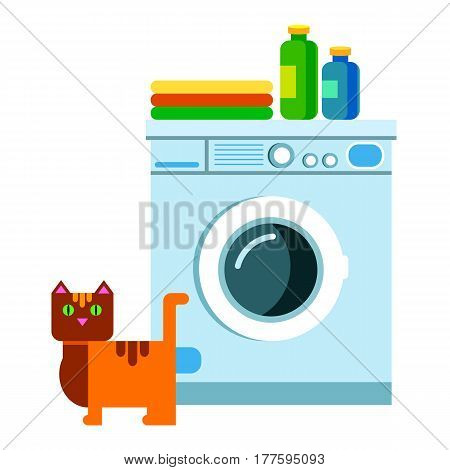 appliance, housework, machine, clothes, vector, laundry, clean, illustration, clothing