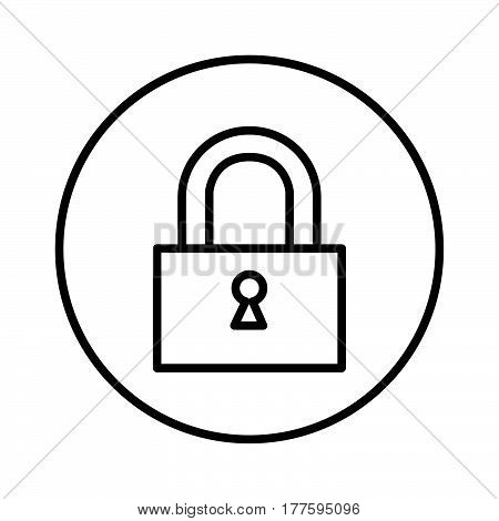 a Simple thin line padlock icon vector
