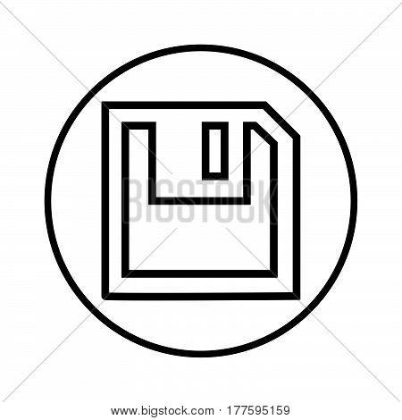 Thin Line Floppy Disc Icon