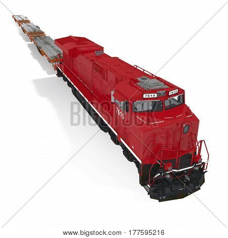Cargo train with heavy duty flat cars on white background. 3D illustration