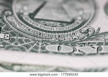 Close Up Of One Dollar Paper Bill