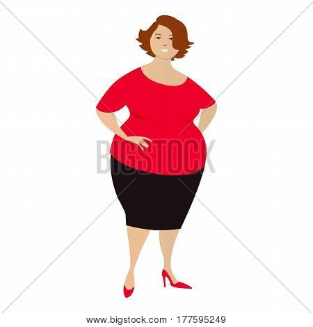 A plump woman in a red blouse and black skirt, isolated on white. Vector illustration.