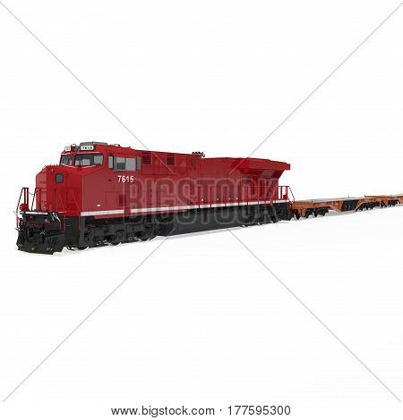 Freight train with flat cars on white background. 3D illustration