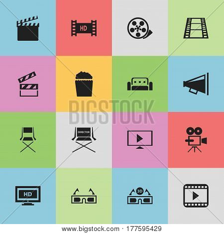 Set Of 16 Editable Cinema Icons. Includes Symbols Such As Chair, Tape, Action And More. Can Be Used For Web, Mobile, UI And Infographic Design.