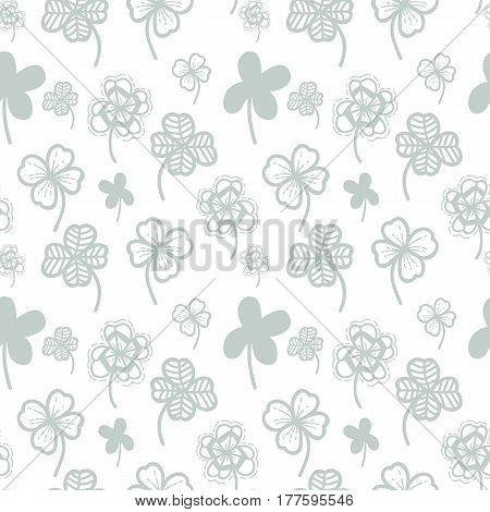 Seamless pattern vector floral background with hand drawn clover leaf for Patrick's Day.
