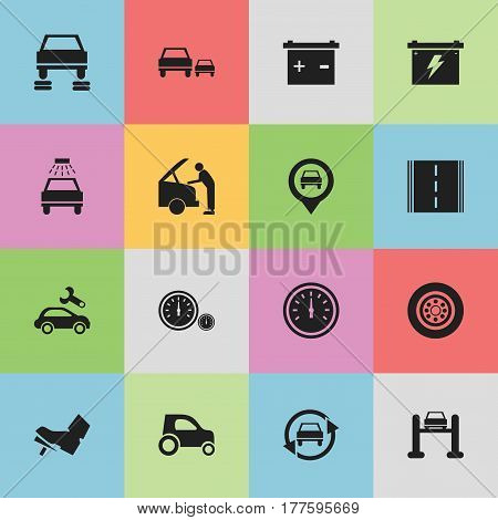 Set Of 16 Editable Car Icons. Includes Symbols Such As Auto Repair, Automotive Fix, Battery And More. Can Be Used For Web, Mobile, UI And Infographic Design.