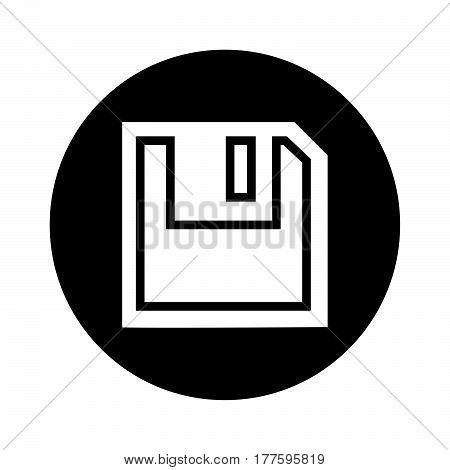 Flat Black Floppy Disc Icon