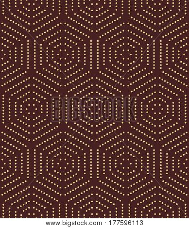 Geometric repeating ornament with golden hexagonal dotted elements. Seamless abstract modern pattern