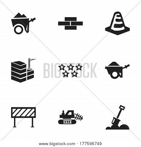 Set Of 9 Editable Building Icons. Includes Symbols Such As Notice Object , Barrier, Handcart. Can Be Used For Web, Mobile, UI And Infographic Design.