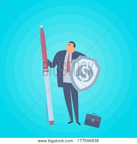 Businessman with pen and shield with dollar sign. Business protection flat concept illustration. Man protects company and saves money. Corporate saving management marketing vector design element.