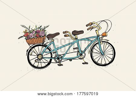 Hand drawn tandem city bicycle with basket of flower, Vintage, retro style. Sketch vector colorful illustration.