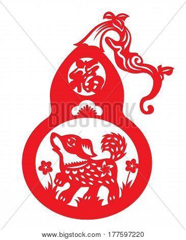 Red paper cut a dog in calabash zodiac symbols