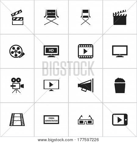 Set Of 16 Editable Filming Icons. Includes Symbols Such As Cinema Snack, Hd Screen, Theater Agency And More. Can Be Used For Web, Mobile, UI And Infographic Design.