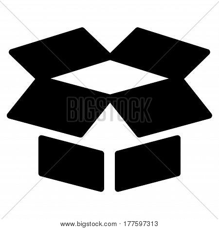 Open Box vector icon. Flat black symbol. Pictogram is isolated on a white background. Designed for web and software interfaces.