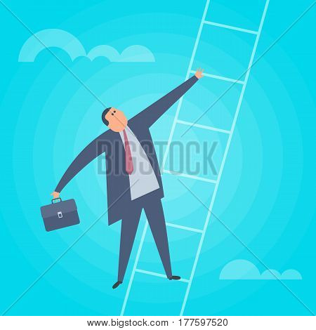 Businessman climbs up a ladder. Business success flat concept illustration. Man is rising up the stair. Achievement career progress ambition professional growth development vector design element.