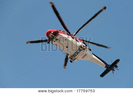 Brisbane, Australia - Apr 14 : Emq Emergency Helicopter Making Patient Rescue Landing At Royal Brisb