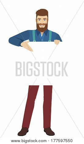 Hipster showing blank signboard. Full length portrait of hipster in a flat style. Vector illustration.