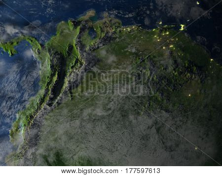 North Of South America At Night On Planet Earth
