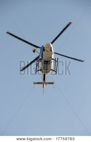 Brisbane, Australia - Apr 14 : Agl Emergency Helicopter Making Patient Rescue Landing At Royal Brisb