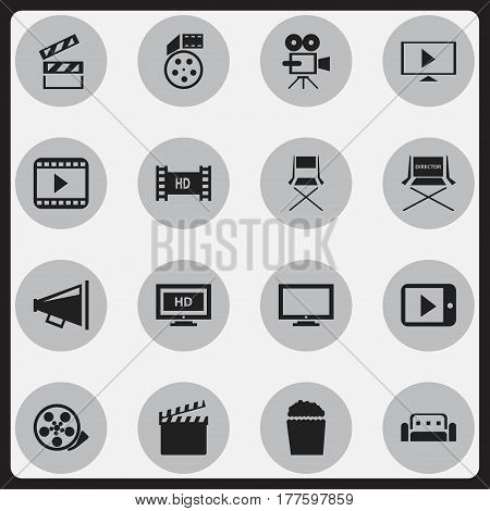 Set Of 16 Editable Movie Icons. Includes Symbols Such As Monitor, Tablet Play, Chair And More. Can Be Used For Web, Mobile, UI And Infographic Design.