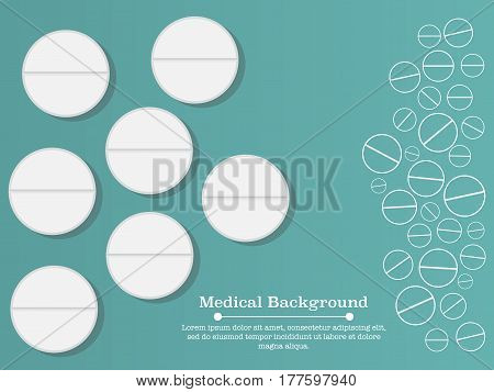 White pills, flat vector illustration. Outline and simple medicine elements background. Antibiotics conceptual illustration. Vitamins, pills vector concept.