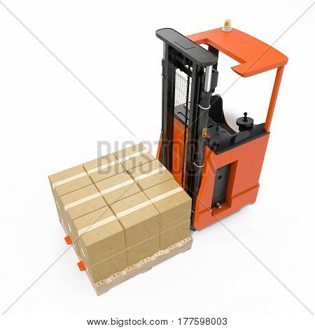 Rider stacker with boxes on pallet isolated on white background. 3D illustration