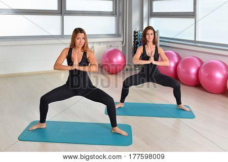 Fitness, sport, exercising lifestyle - female group doing yoga exercises at gym.