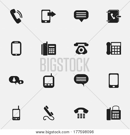 Set Of 16 Editable Device Icons. Includes Symbols Such As Transceiver, Call, Talking And More. Can Be Used For Web, Mobile, UI And Infographic Design.