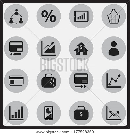 Set Of 16 Editable Logical Icons. Includes Symbols Such As Statistic, Phone Statistics, Progress And More. Can Be Used For Web, Mobile, UI And Infographic Design.