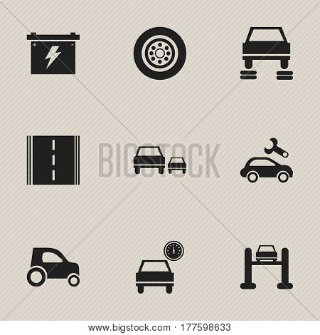 Set Of 9 Editable Transport Icons. Includes Symbols Such As Race, Tire, Auto Repair And More. Can Be Used For Web, Mobile, UI And Infographic Design.