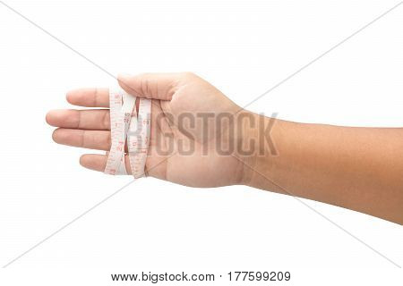 Hand with measuring tape isolated on white background with clipping path