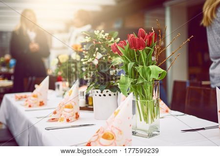 Formal Table For A Dinner Decorated With Flowers
