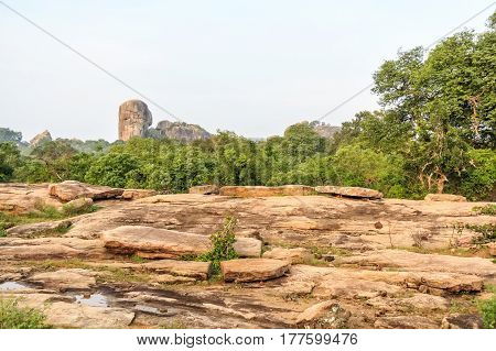 Scenic view with inselberg or monadnock known as Tortoise in Yala National Park, Sri Lanka