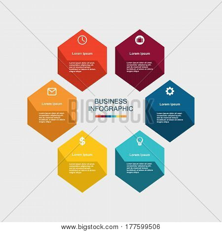 Business Infographic Hexagon