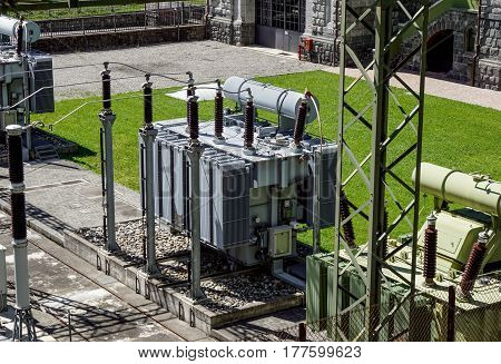 transformer on high power station. High voltage