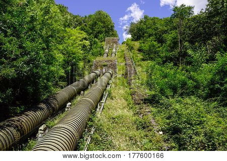 penstock water pipes in a hydroelectric power plant