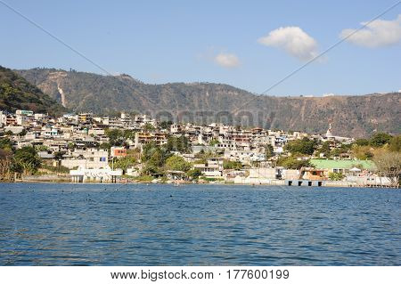 San Pedro la Laguna, Guatemala - 12 February 2014: The village of San Pedro la laguna on lake Atitlan Guatemala