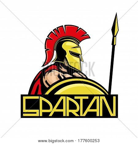 Spartan with shield and spear on a white background.