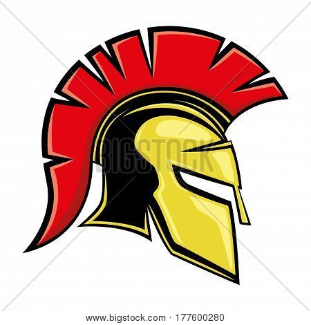 Yellow spartan helmet on a white background.