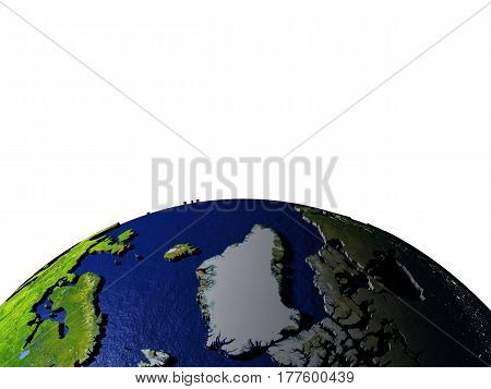 Greenland On Model Of Earth With Embossed Land