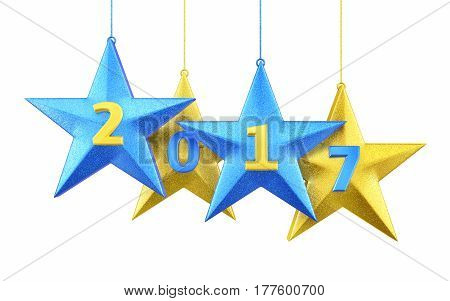 3d render New year 2017 and star shape (isolated on white and clipping path)