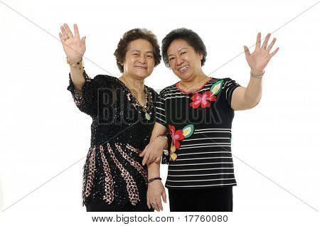 senior asian woman waving and saying hallo poster